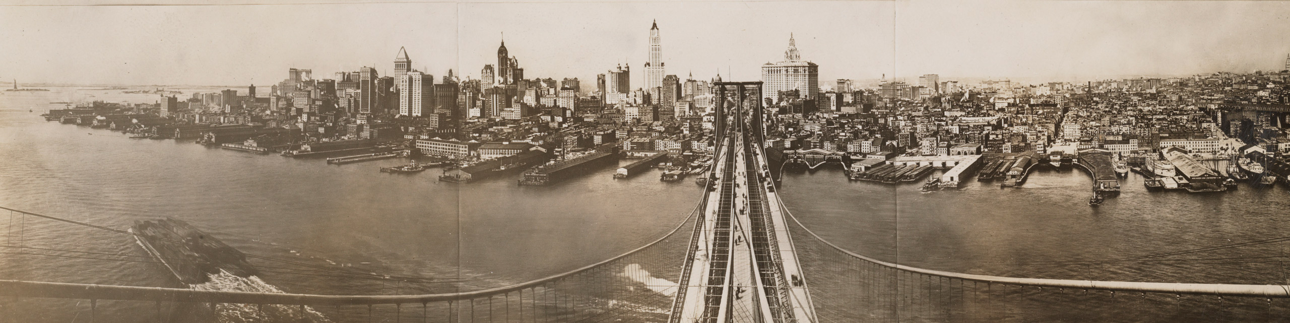 View of the skyline from Brooklyn Bridge tower