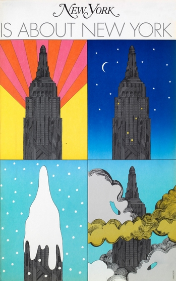Poster made to promote New York Magazine. The Empire State Building appears in four equal sections, against different backgrounds