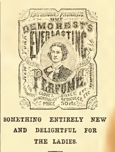 Mme广告。 恶魔的永恒香水。 文字围绕着19世纪服装中的女人雕刻。