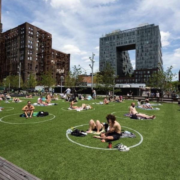 Personas sentadas en la hierba en círculos de distanciamiento social