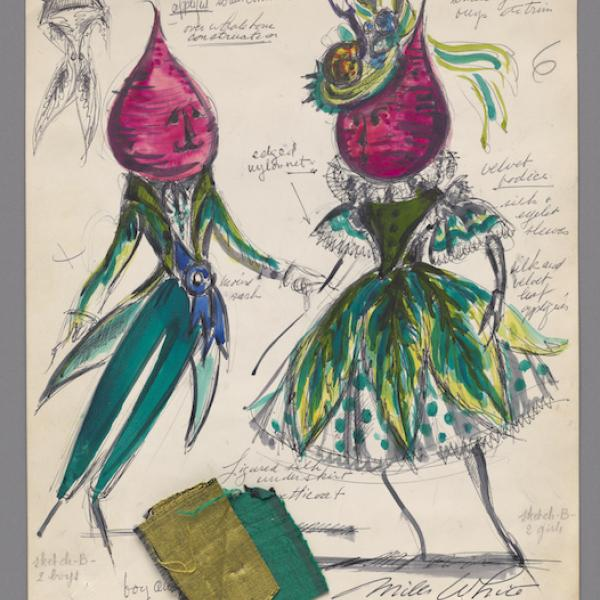 Hand-drawn sketch. Costume design depicting a man and a woman with beets for heads. Emerald green and chartreuse fabric swatches attached.