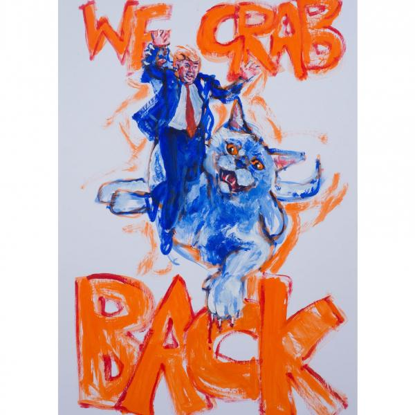 "A museum photo of ""Subway Therapy"" after the 2016 election that was created by Matthew ""Levee"" Chavez."