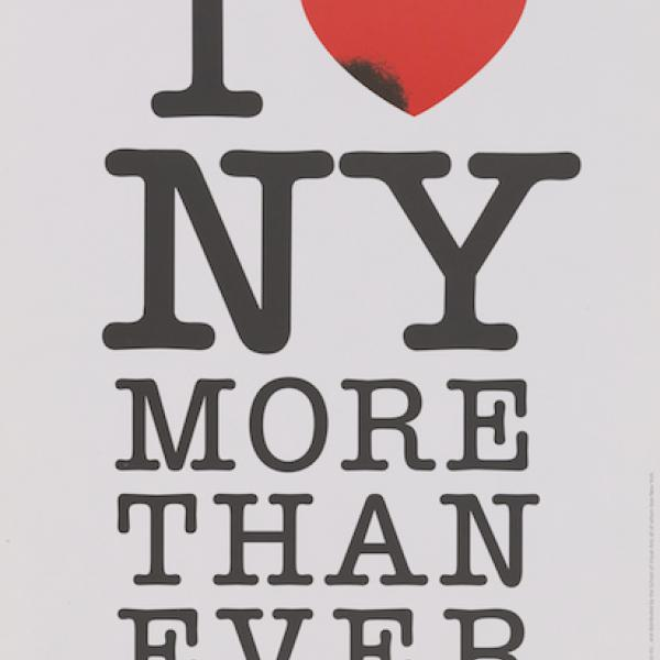 "Black text on white background reads ""I [Heart] NY More Than Ever."" The bright red heart symbol has a black bruise along the lower left edge."