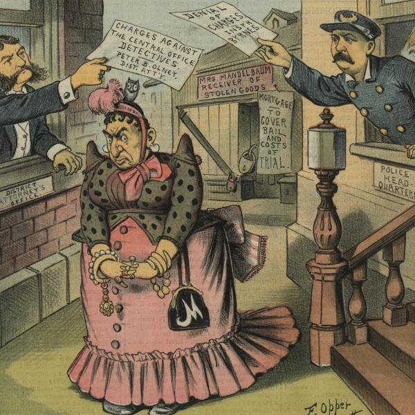 "A museum photo by Edward Van Every of ""Mother Mandelbaum"" from Sins of New York."