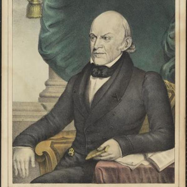 A photograph from the museum by N. Currier of John Quincy Adams in 1837.