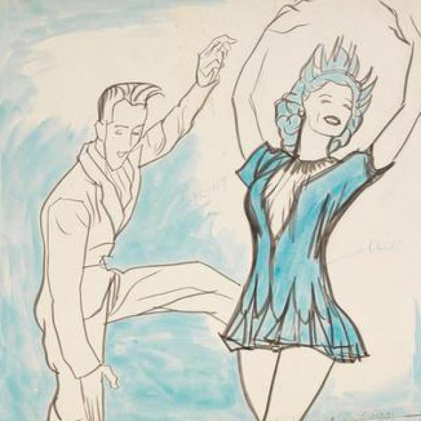 A museum photo by William Auerbach- Levy (1889- 1964) of [Skippy Baxter and Eileen Seigh in Howdy, Mr. Ice of 1950].