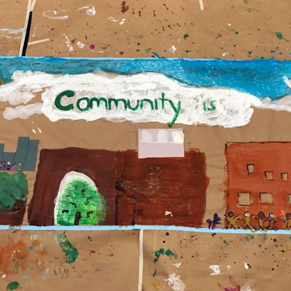 Photograph of a community mural created during a free Family Program.