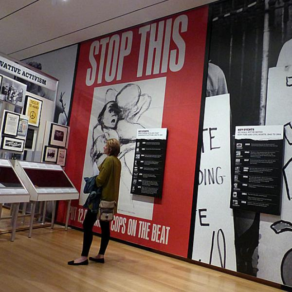 Photograph is from the Activist New York exhibition. Sections depicted in the photograph are from the gallery, under Civil Rights and Conservative Activism in New York City sections.