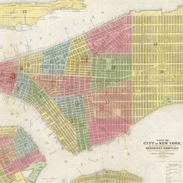 Digital photograph is a copy of a fold out map of Lower Manhattan, Brooklyn, the Village of Williamsburg, and Jersey City. Each distinct neighborhood is highlighted in red, blue, yellow, orange, or green.