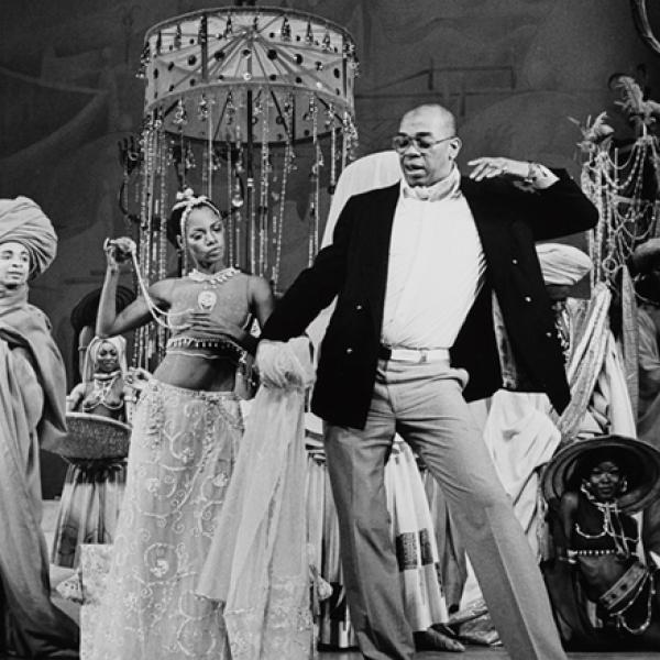 "A 1978 museum photo by Martha Swope of [Rehearsal for ""Timbuktul""] at the New York Public Library."