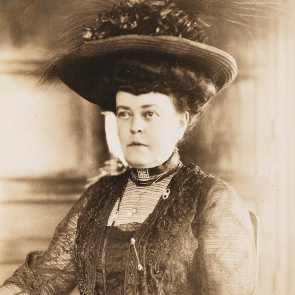 A photo of Alva Belmont who is a philanthropist, socialite, suffragist, and founder of the Political Equality Association in New York.