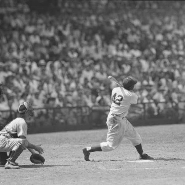 Jackie Robinson up at bat. Photograph by Frank Bauman for Look magazine, 1949.