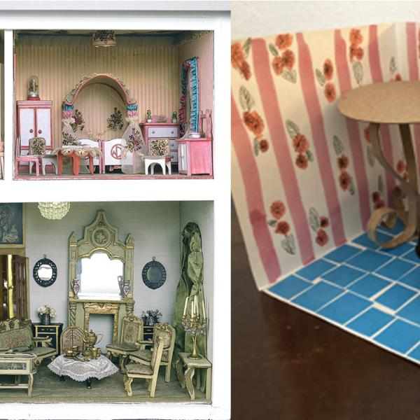 A composite image showing - Left: a photo of the colorful rooms of the Stettheimer dollhouse. Right: a tiny room and furniture made from craft materials.