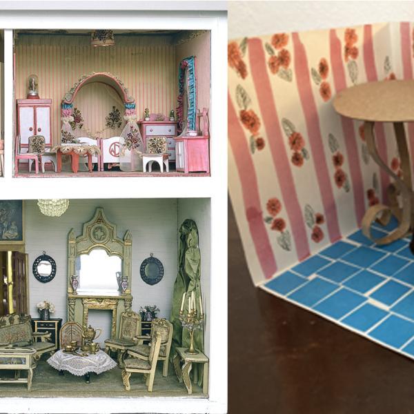合成画像-左:ステットハイマードールハウスのカラフルな部屋の写真。 右:クラフト素材で作られた小さな部屋と家具。