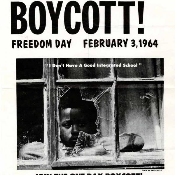 "Image shows a flyer for the New York City school boycott on February 3, 1964. The flyer features a photo of a Black boy staring out a broken school window. Under the photo is a quotation: ""I don't have a good integrated school."""