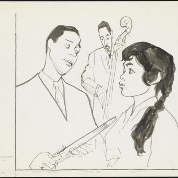Line drawing of three jazz musicians talking and playing music.