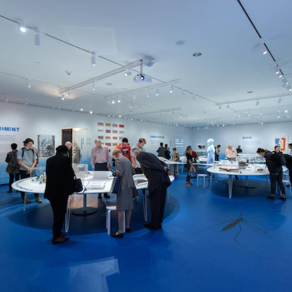 Installation Shot of Germ City: Microbes and the Metropolis, with a crowd looking at the exhibition.