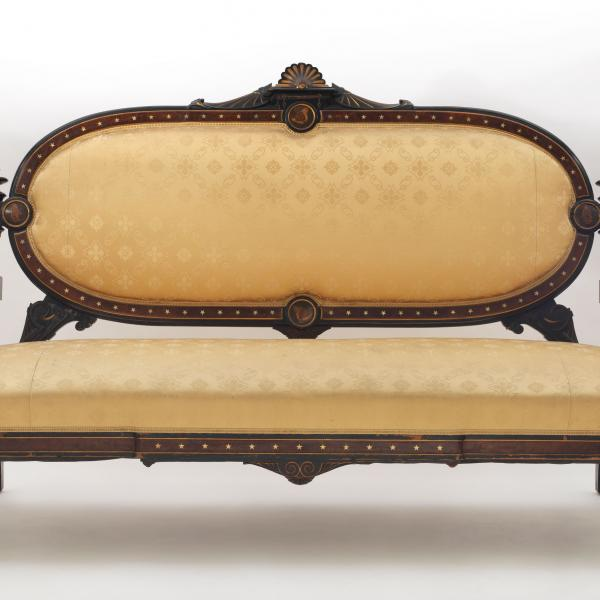 A sofa by L Marcotte and Co. circa 1875 that is held in the Museum of the City of New York's collection