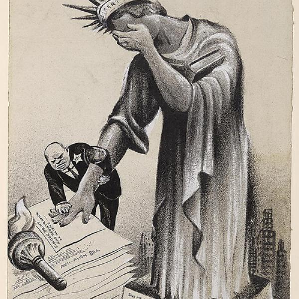 The Statue of Liberty bows her head in shame as an FBI agent records her fingerprint impressions
