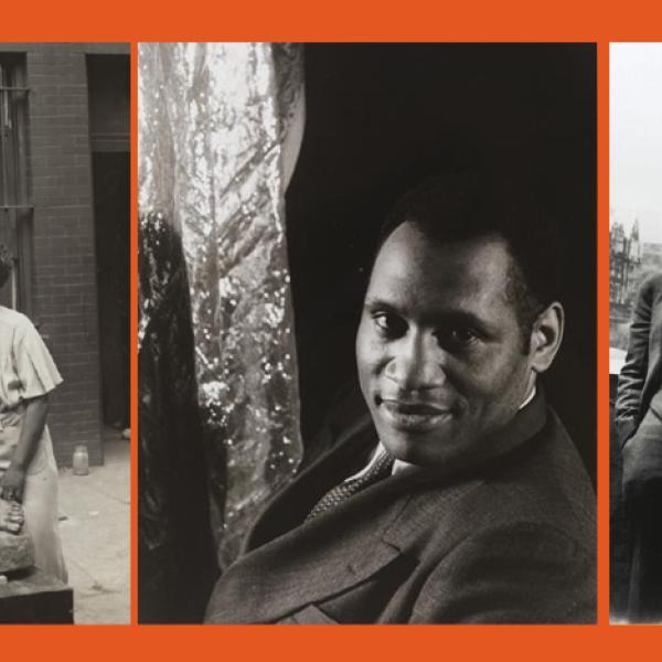 オーガスタ・サヴェージと彼女の作品のXNUMXつ、ポール・ロブソンのヘッドショット、作家のラングストン・ヒューズ[左端]と[左から右:]チャールズ・S・ジョンソン。 E.フランクリンフレイジャー; ルドルフ・フィッシャーとヒューバート・T・デラニー