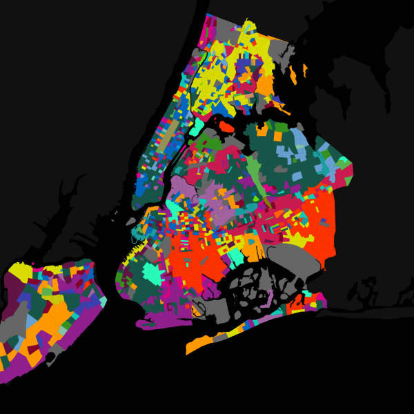 Map describing languages spoken in NYC. Click to go to interactive webpage.