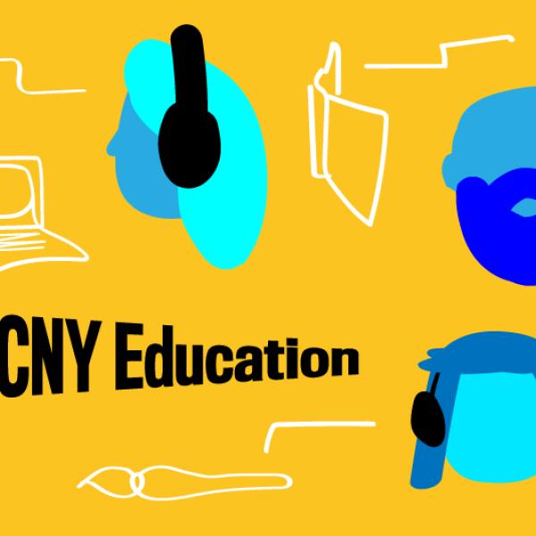 """흰색으로 그려진 다양한 디지털 장치에 연결하는 전선이있는 헤드폰을 착용 한 파란색, 만화 같은 머리를 특징으로하는 그래픽. """"MCNY Education""""이라는 텍스트가 왼쪽 하단에 검은 색으로 표시됩니다."""