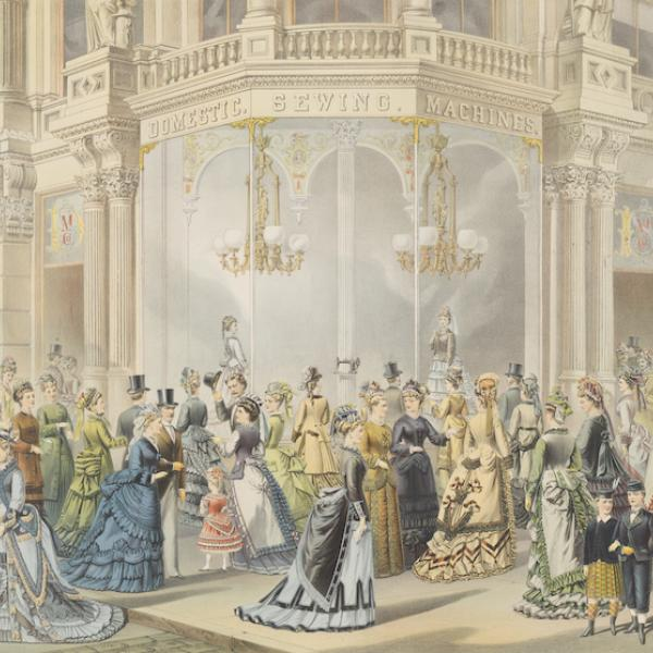 Color engraving that depicts a crowd of ladies and children in 19-century fashionable dress standing in front of a window display for Domestic Sewing Machines.