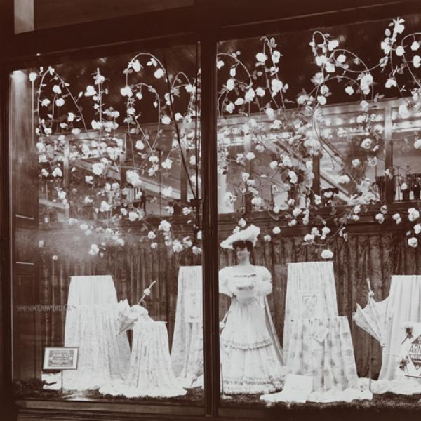 Window displays of Simpson Crawford Co. department store featuring Arnold Wash fabrics.