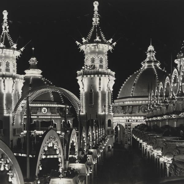 View of Luna park at night lit up with many lights