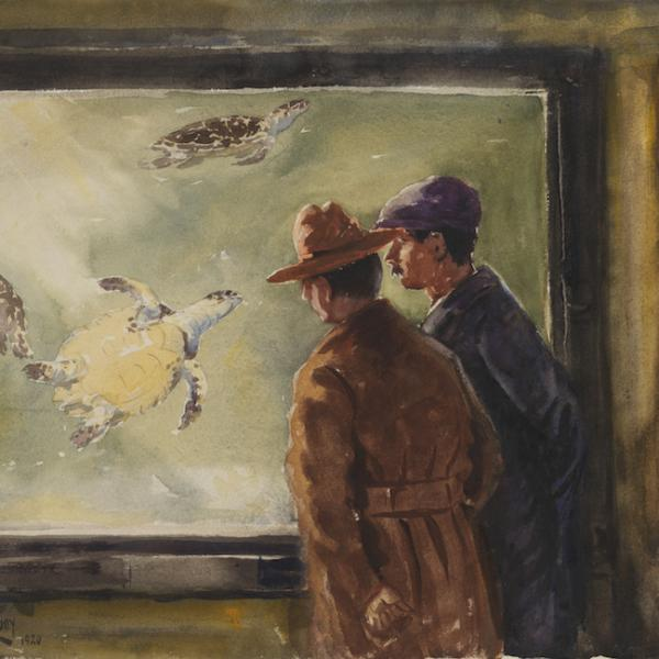 Watercolor of two men in trench coats viewing a turtle tank