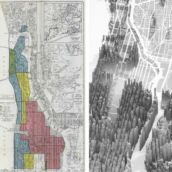Two maps of New York City – one a residential zoning map used by banks in the 1930s and the other an artistic rendering from 2019 – that offer two different looks at economic disparities in the city. o images is in the email that accompanies this request.