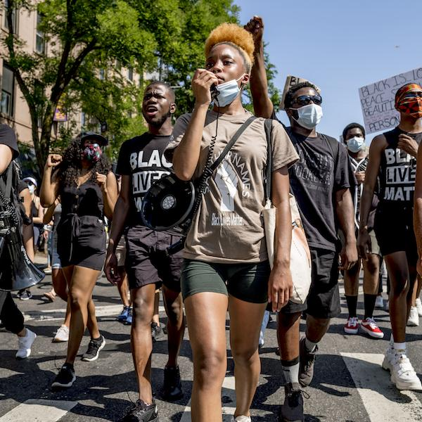 Marchers at the Million People March, Brooklyn NYC on June 19, 2020