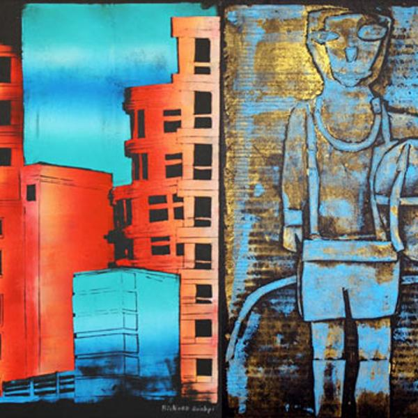 Four paintings done by students in NYC. Paintings are of landmarks, buildings, and everyday life in the city