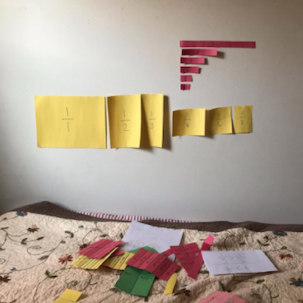 Photograph posted on Instagram showing a teacher's bedroom after teaching a virtual lesson on fractions.