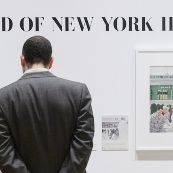 "Visitors in front of a wall with ""THE WORLD OF NEW YORK ILLUSTRATION"" on it. Below text is a drawing of people at a racetrack"