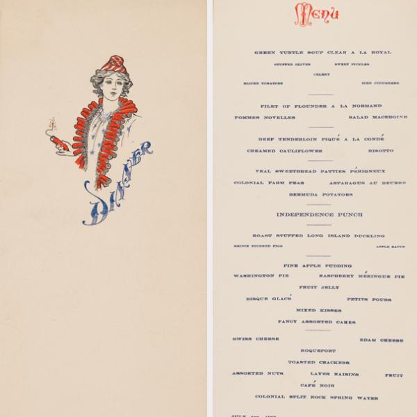 """Menú impreso de la cena de varios platos del 4 de julio de 1905. La portada, a la derecha, muestra el dibujo de una mujer con un collar de petardos, una camisa blanca con estrellas azules y un sombrero a rayas rojas y blancas, sosteniendo un petardo encendido. """"Cena"""" impreso en tinta azul. """"Menú"""", a la izquierda, está impreso en la parte superior con tinta roja. A continuación, cada plato tiene un nombre y está impreso con tinta azul."""