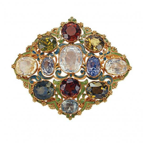 Tiffany & Co. brooch, 1900. Platinum, gold, diamond, pearls, ruby, garnet, sapphire • © Tiffany & Co. Archives 2013. (Not to be published/reproduced without permission. No permission for commercial use will be granted except by written agreement.)