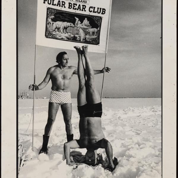 An outdoor photo acquired by the museum's collections team of two men who is apart of the Coney Island Polar Bear Club.