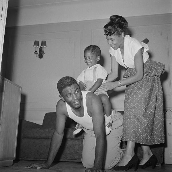 Jackie and Rachel Robinson with their three-year-old son, Jackie Jr., at home in Brooklyn