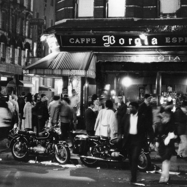 "Fred W. McDarrah, ""Outside the Caffe Borgia, at MacDougal and Bleecker Streets,"" 1966. Photo © Estate of Fred W. McDarrah. All Rights Reserved."