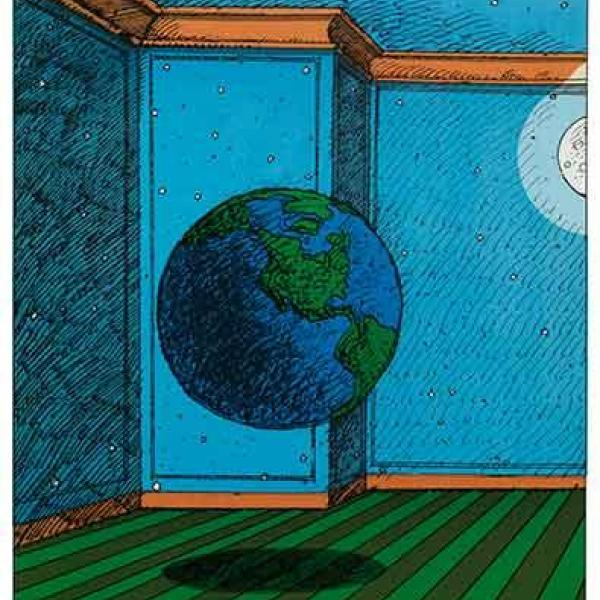 "Poster with the words ""Give Earth A Chance"" above, a room with blue walls and a green floor and a globe hovering in the middle below."