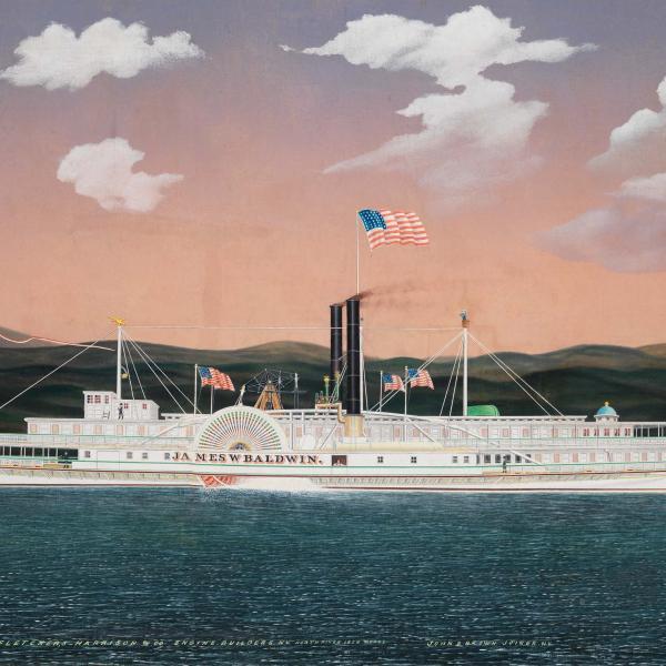 Um barco a vapor, pintado por James Bard, 1861