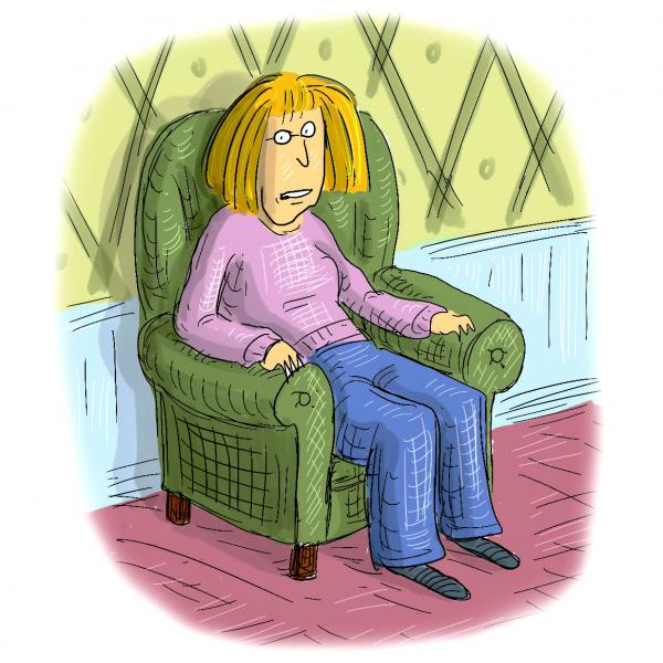 Roz Chast cartoon, self portrait in a chair