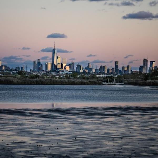 New York depuis les marais autour de la rivière Hackensack dans le New Jersey]