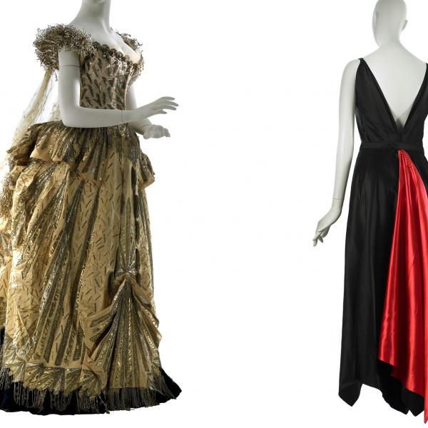 Image of two evening dresses, left gold and made by Maison worth, right black and red and made by Mainbocher.