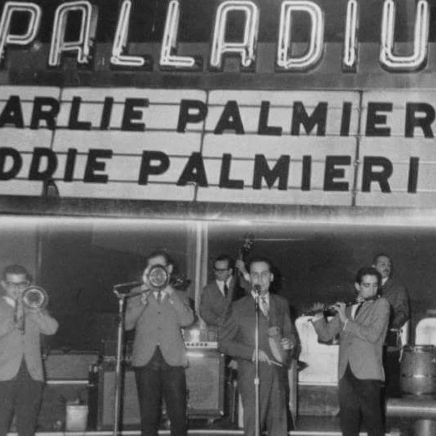 Charlie Palmieri and Eddie Palmieri perform at the Palladium Ballroom, c. 1964