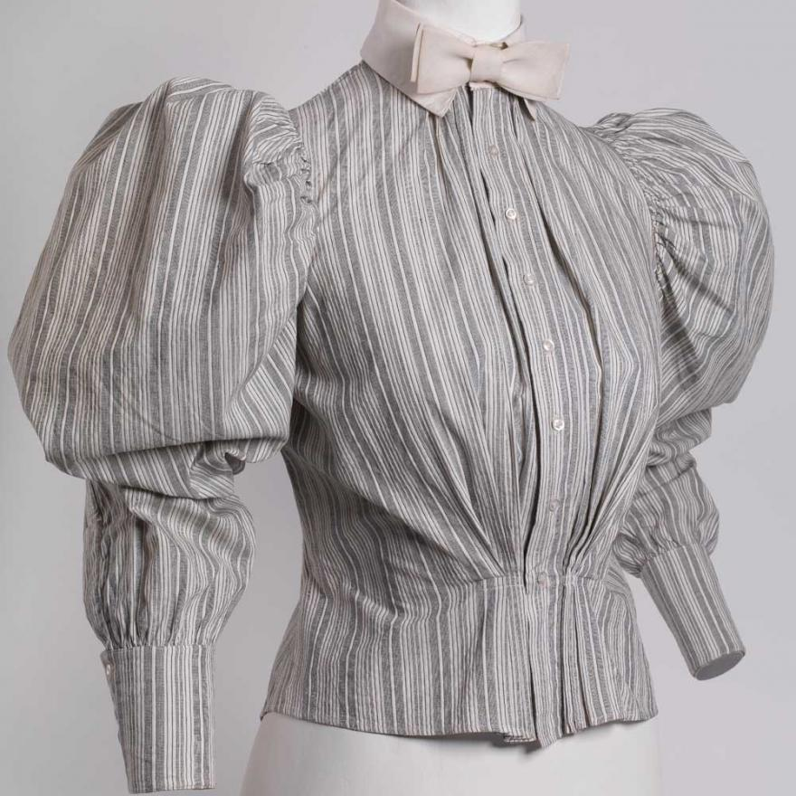 Gray and white striped cotton shirtwaist with linen collar tied in a bow tie
