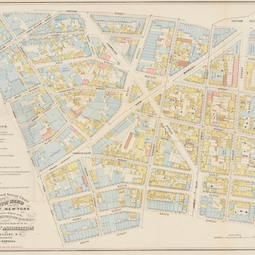 Map of lower Manhattan, with color-coding based on sanitation inspection