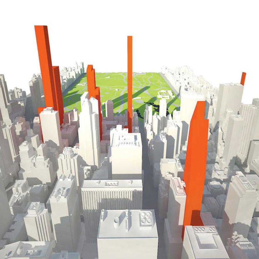 A computer-generated image of NYC looking north towards Central Park. Some buildings are colored red, the rest are white