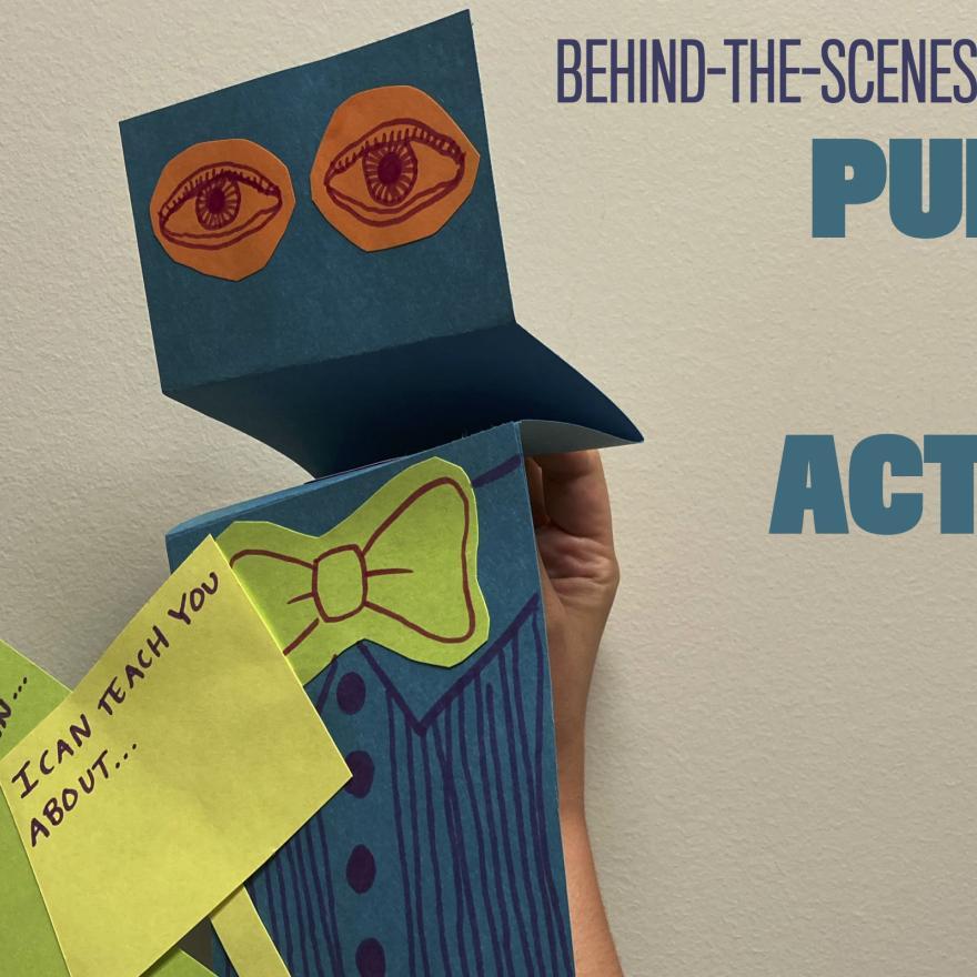 """Marionnette à côté du traitement du titre """"Marionnettes et activisme"""""""